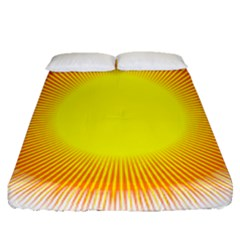 Sunlight Sun Orange Yellow Light Fitted Sheet (queen Size) by Alisyart