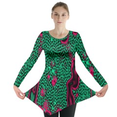 Reaction Diffusion Green Purple Long Sleeve Tunic