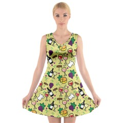 Wine Cheede Fruit Purple Yellow V Neck Sleeveless Skater Dress