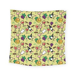 Wine Cheede Fruit Purple Yellow Square Tapestry (small)