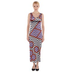 Triangle Plaid Circle Purple Grey Red Fitted Maxi Dress by Alisyart