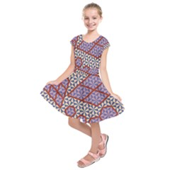Triangle Plaid Circle Purple Grey Red Kids  Short Sleeve Dress by Alisyart
