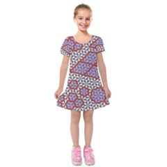 Triangle Plaid Circle Purple Grey Red Kids  Short Sleeve Velvet Dress by Alisyart