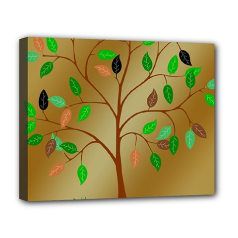 Tree Root Leaves Contour Outlines Deluxe Canvas 20  X 16   by Simbadda