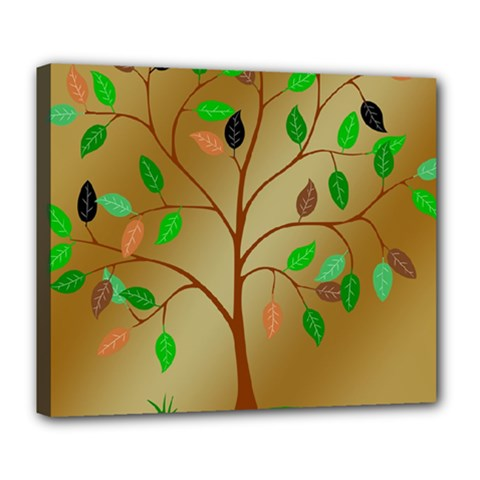 Tree Root Leaves Contour Outlines Deluxe Canvas 24  X 20   by Simbadda
