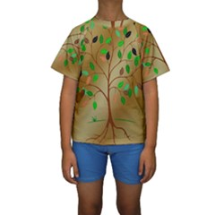 Tree Root Leaves Contour Outlines Kids  Short Sleeve Swimwear by Simbadda