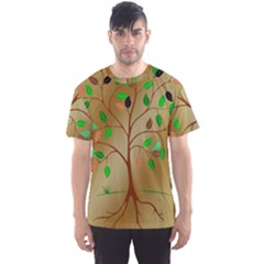 Tree Root Leaves Contour Outlines Men s Sport Mesh Tee