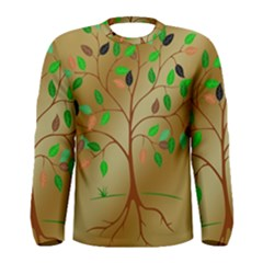 Tree Root Leaves Contour Outlines Men s Long Sleeve Tee by Simbadda
