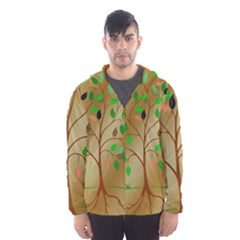 Tree Root Leaves Contour Outlines Hooded Wind Breaker (men) by Simbadda