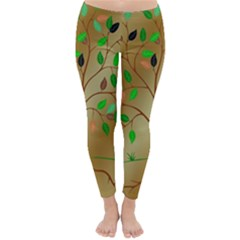Tree Root Leaves Contour Outlines Classic Winter Leggings by Simbadda