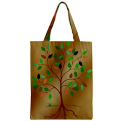 Tree Root Leaves Contour Outlines Zipper Classic Tote Bag by Simbadda