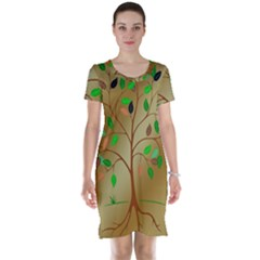 Tree Root Leaves Contour Outlines Short Sleeve Nightdress by Simbadda