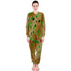 Tree Root Leaves Contour Outlines Onepiece Jumpsuit (ladies)  by Simbadda