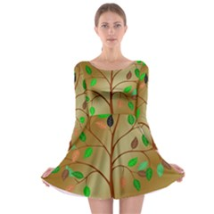 Tree Root Leaves Contour Outlines Long Sleeve Skater Dress