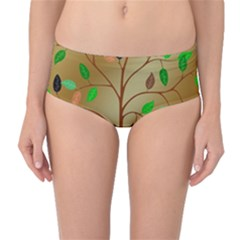 Tree Root Leaves Contour Outlines Mid-waist Bikini Bottoms by Simbadda