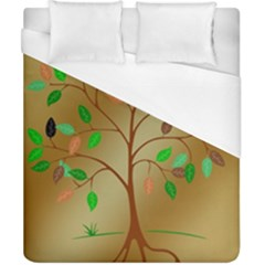 Tree Root Leaves Contour Outlines Duvet Cover (california King Size) by Simbadda