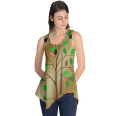 Tree Root Leaves Contour Outlines Sleeveless Tunic