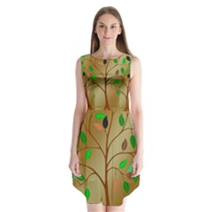 Tree Root Leaves Contour Outlines Sleeveless Chiffon Dress   by Simbadda