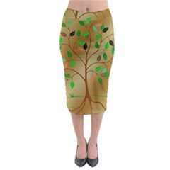 Tree Root Leaves Contour Outlines Midi Pencil Skirt by Simbadda