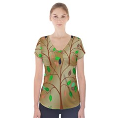Tree Root Leaves Contour Outlines Short Sleeve Front Detail Top by Simbadda