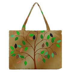Tree Root Leaves Contour Outlines Medium Zipper Tote Bag by Simbadda