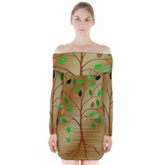 Tree Root Leaves Contour Outlines Long Sleeve Off Shoulder Dress by Simbadda