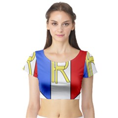 Semi-official Shield Of France Short Sleeve Crop Top (tight Fit) by abbeyz71