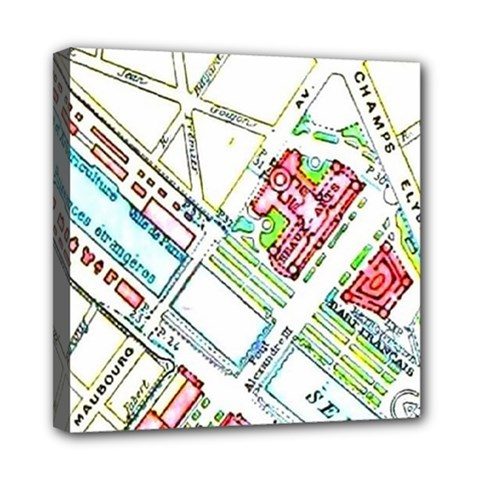 Paris Map Mini Canvas 8  X 8  by Simbadda