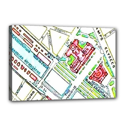 Paris Map Canvas 18  X 12  by Simbadda