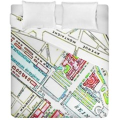 Paris Map Duvet Cover Double Side (california King Size) by Simbadda