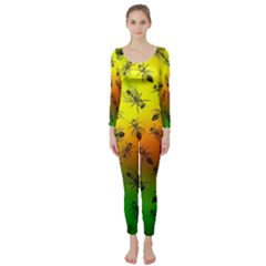 Insect Pattern Long Sleeve Catsuit by Simbadda