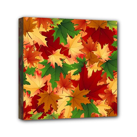 Autumn Leaves Mini Canvas 6  X 6  by Simbadda