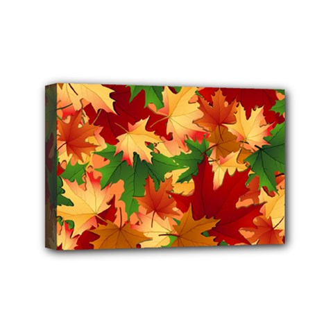 Autumn Leaves Mini Canvas 6  X 4  by Simbadda
