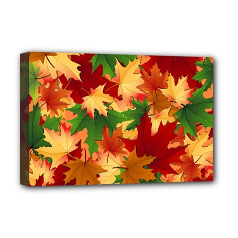 Autumn Leaves Deluxe Canvas 18  X 12   by Simbadda