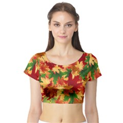 Autumn Leaves Short Sleeve Crop Top (tight Fit) by Simbadda