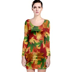 Autumn Leaves Long Sleeve Bodycon Dress by Simbadda