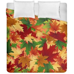 Autumn Leaves Duvet Cover Double Side (california King Size) by Simbadda
