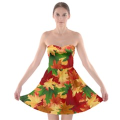 Autumn Leaves Strapless Bra Top Dress by Simbadda