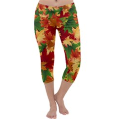 Autumn Leaves Capri Yoga Leggings by Simbadda