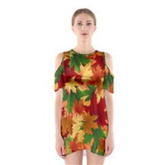 Autumn Leaves Shoulder Cutout One Piece by Simbadda
