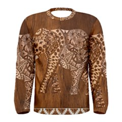 Elephant Aztec Wood Tekture Men s Long Sleeve Tee by Simbadda