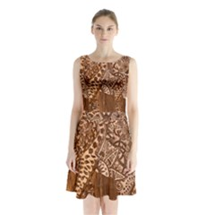 Elephant Aztec Wood Tekture Sleeveless Chiffon Waist Tie Dress