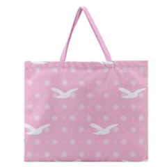 Wallpaper Same Palette Pink Star Bird Animals Zipper Large Tote Bag by Alisyart