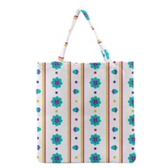 Beans Flower Floral Blue Grocery Tote Bag by Alisyart
