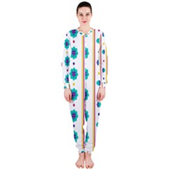 Beans Flower Floral Blue Onepiece Jumpsuit (ladies)  by Alisyart