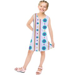 Beans Flower Floral Blue Kids  Tunic Dress by Alisyart