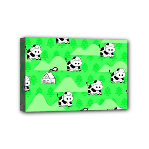 Animals Cow Home Sweet Tree Green Mini Canvas 6  X 4  by Alisyart