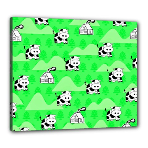 Animals Cow Home Sweet Tree Green Canvas 24  X 20