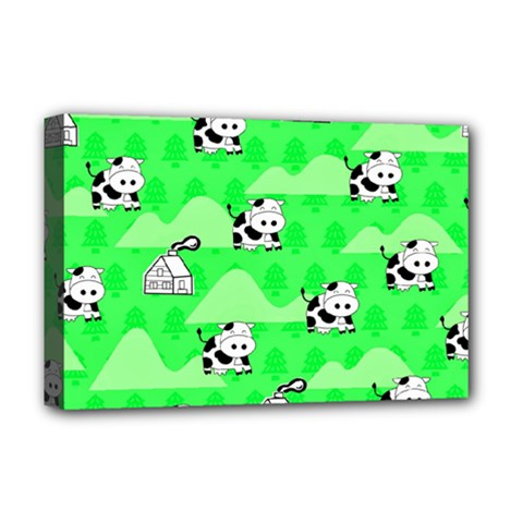Animals Cow Home Sweet Tree Green Deluxe Canvas 18  X 12   by Alisyart