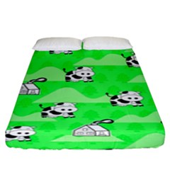 Animals Cow Home Sweet Tree Green Fitted Sheet (king Size)